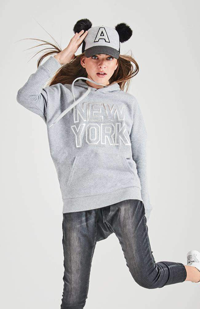 dina long grey & silver active sweat top