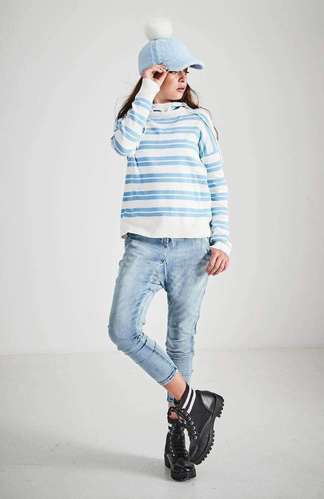 jenna hooded pastel stripe knit top
