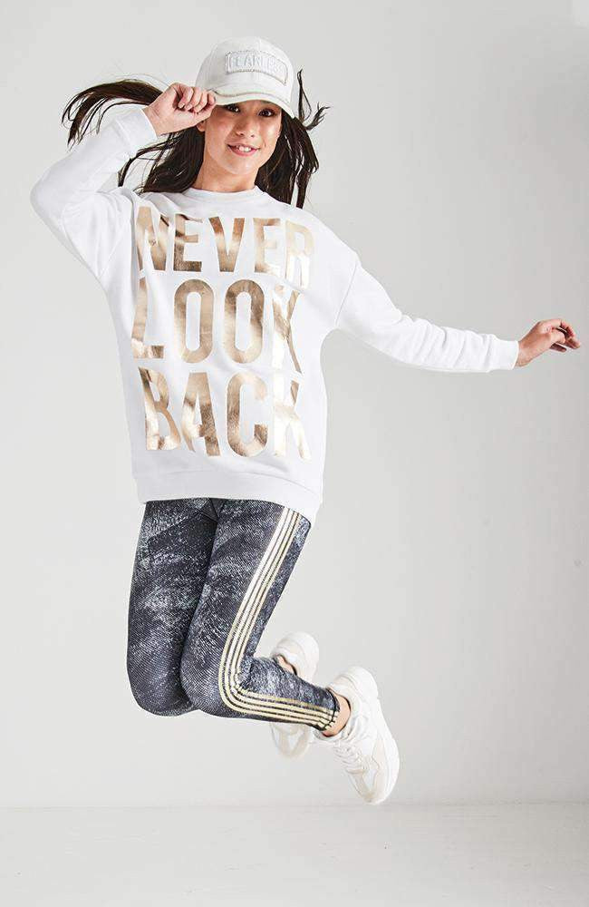 never look back white & gold active sweat top