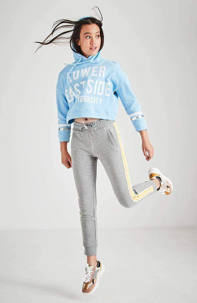 anisha grey & yellow stripe active sweat pant