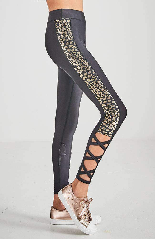 black & gold cheetah active legging