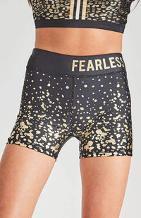 fearless black & gold cropped biker short