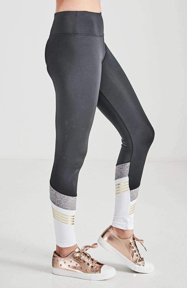 persistance black white & gold active legging