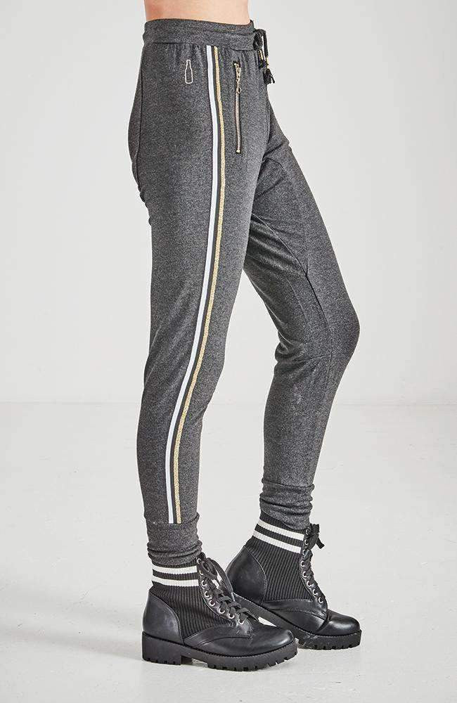 mae dark grey & gold active sweat pant