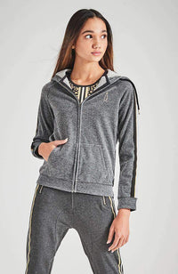 jules silver glitter hooded active jacket