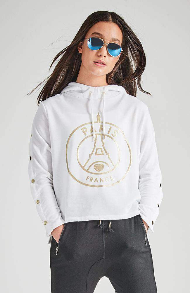 stacie white & gold hooded dome sweat top
