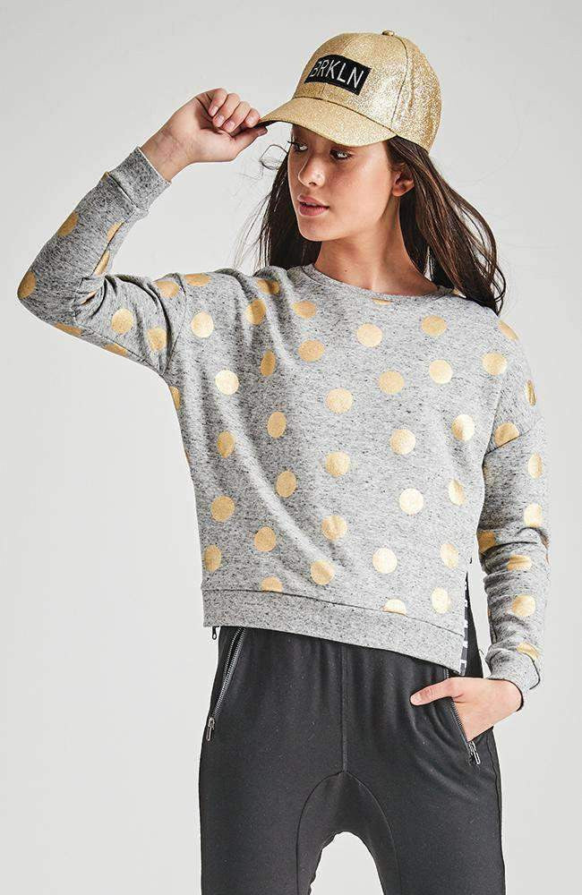 kayla grey & gold spot zip sweat top