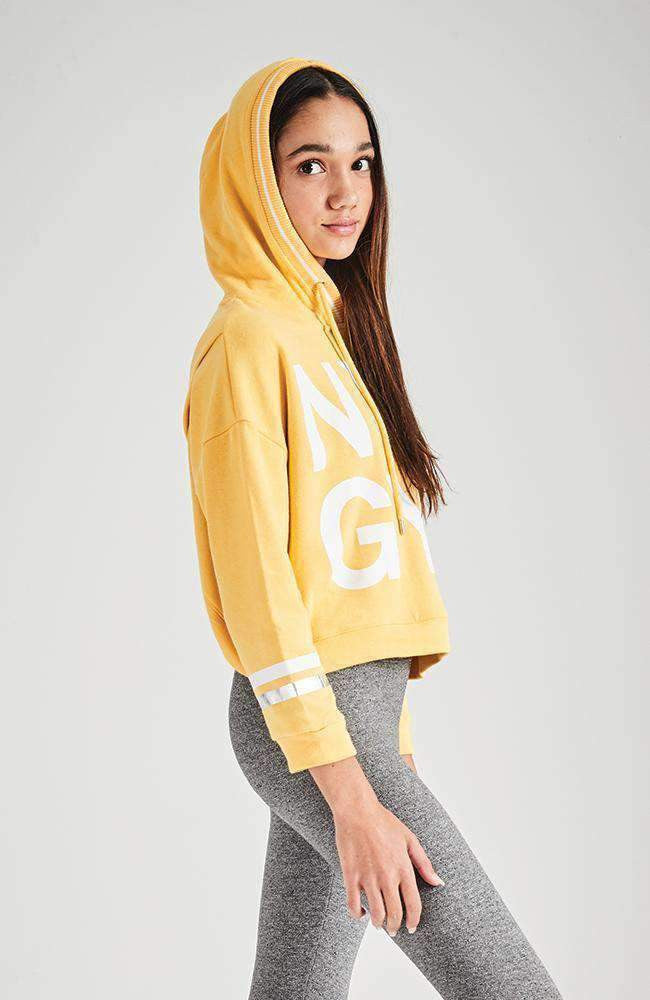 new york city bright cropped hooded sweat top