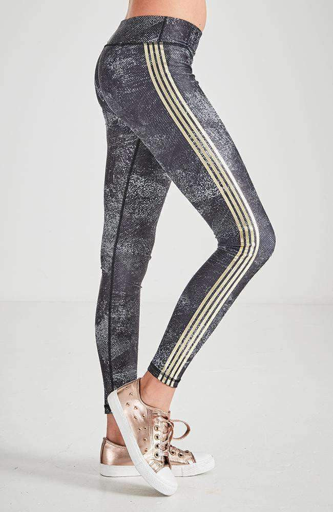 nila black white & gold active legging