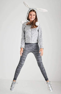 hermione black & grey marle active legging