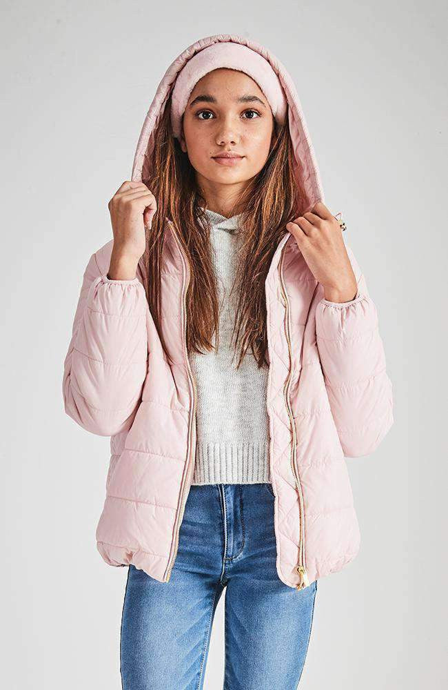 aston hodded pink puffa jacket