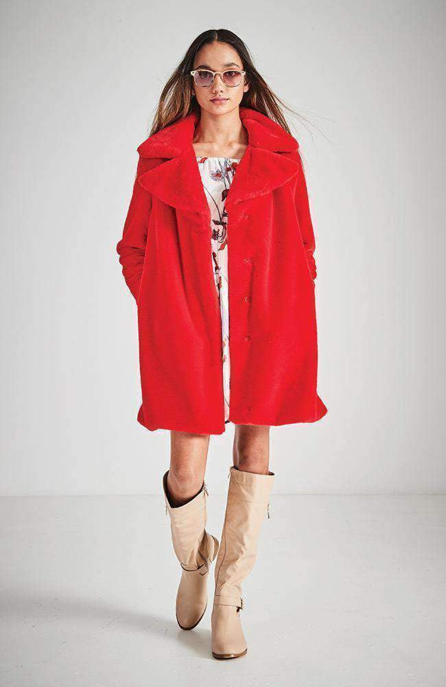 harper red faux fur party coat