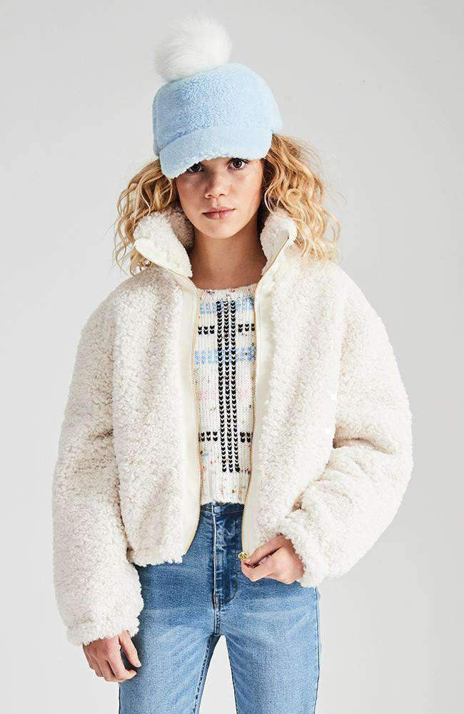 cecil cream fluffy bomber jacket