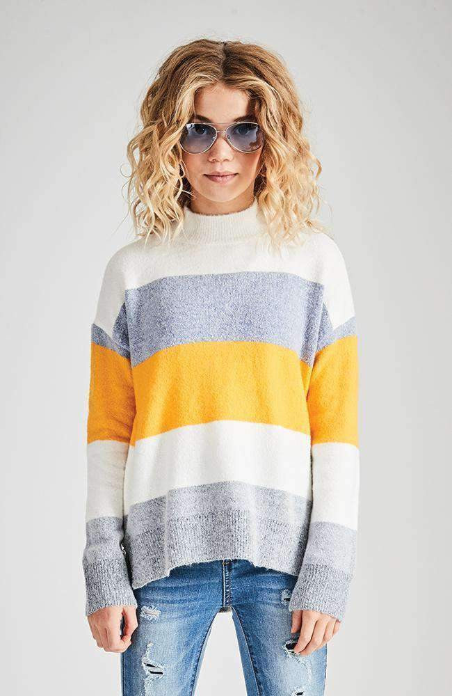 kaelyn yellow & blue striped knit top