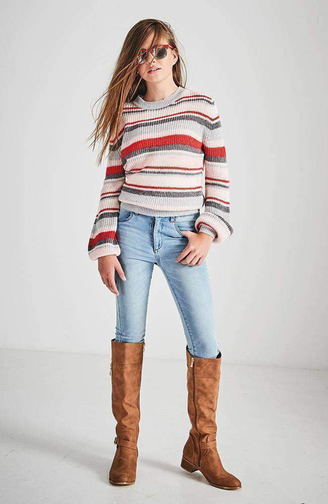 chiara red & pink striped knit
