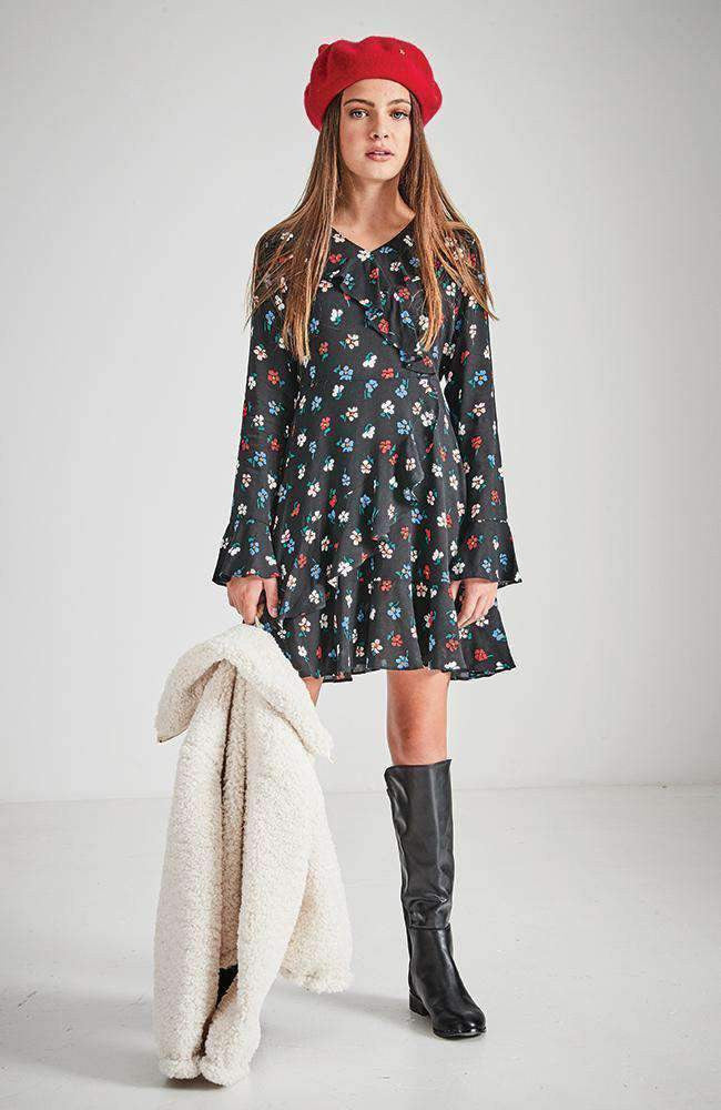 abigail black floral party dress