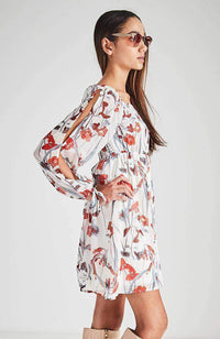 gigi sheer red floral party dress