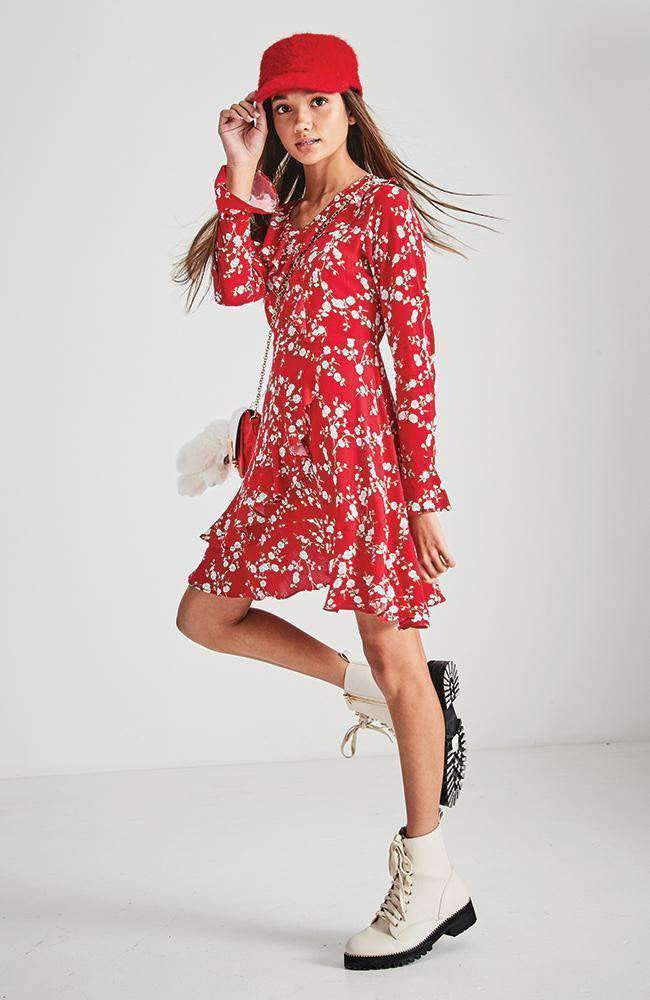 gail red floral ruffle party dress