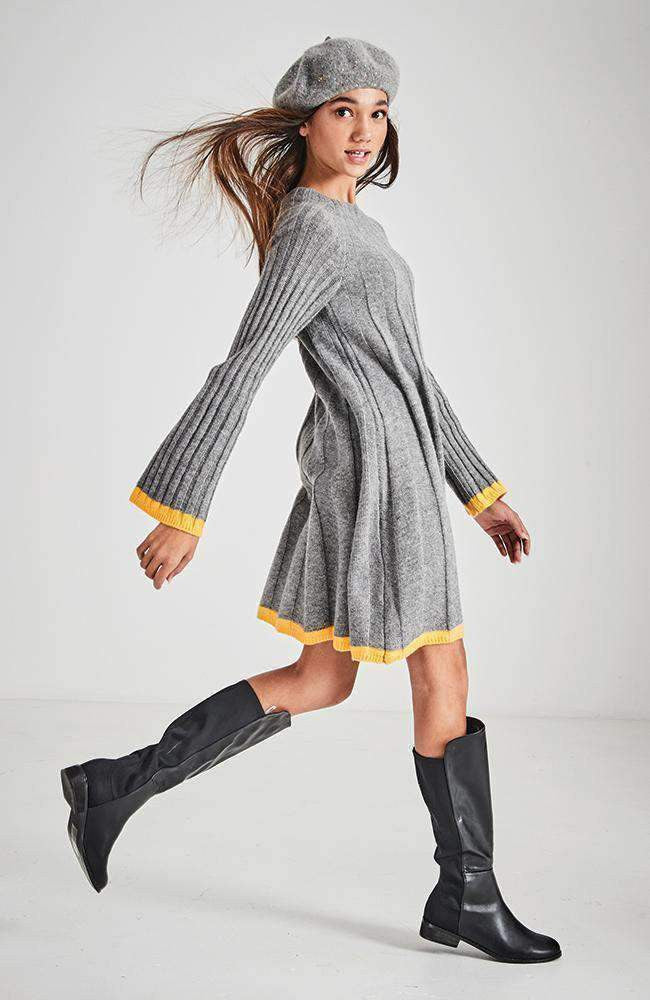 marley grey knit swing dress