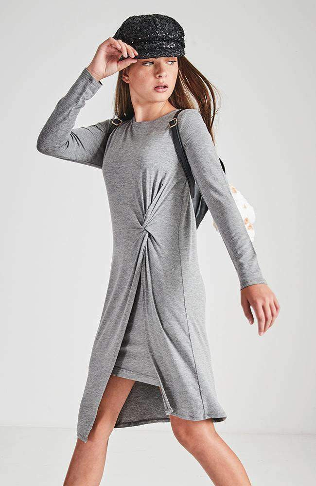 ebony grey layered knit dress