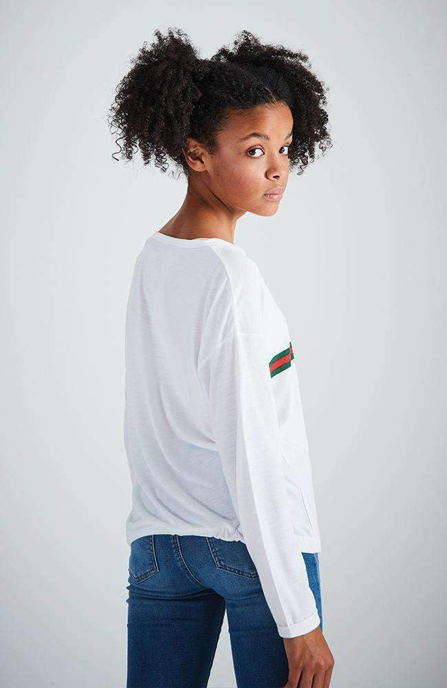 star cat white long sleeve stripe tee