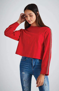 lexi red & silver stripe long sleeve tee