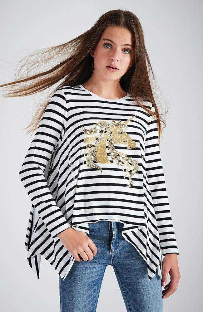 unicorn luck black & white stripe gold foil tee