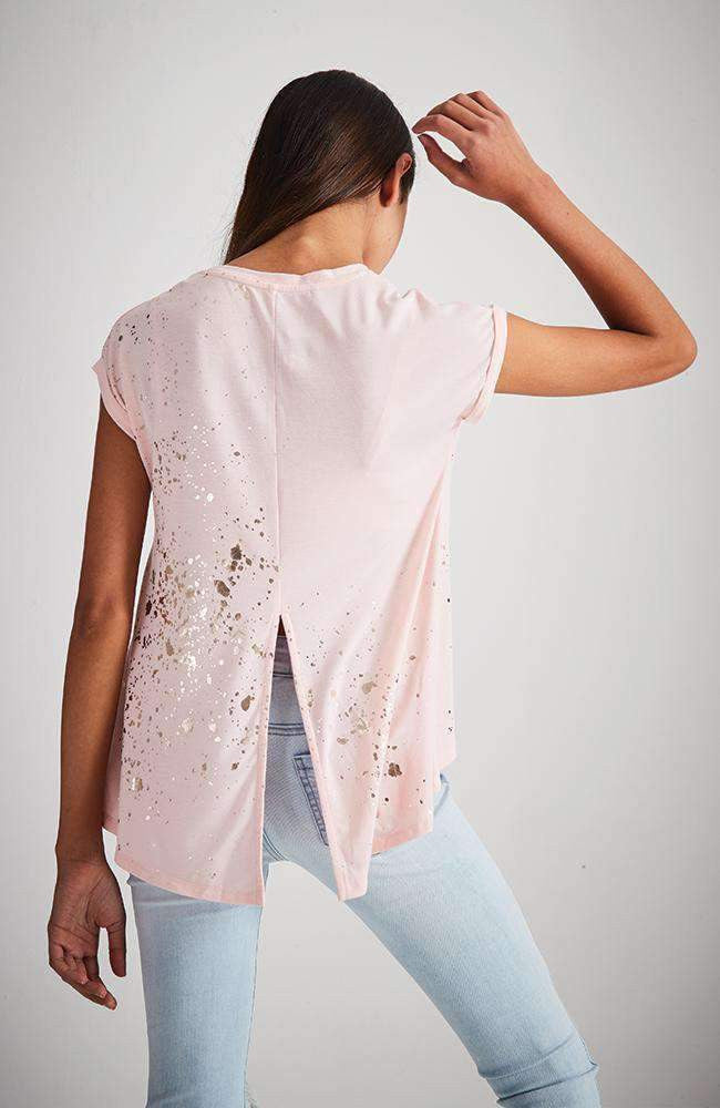 splat pink & gold foil split back tee