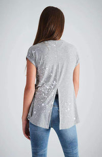 grey white split back splat tee