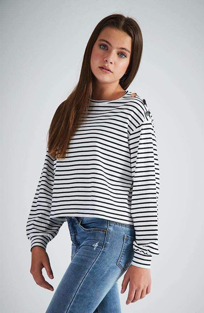 felicia striped dome shoulder breton top