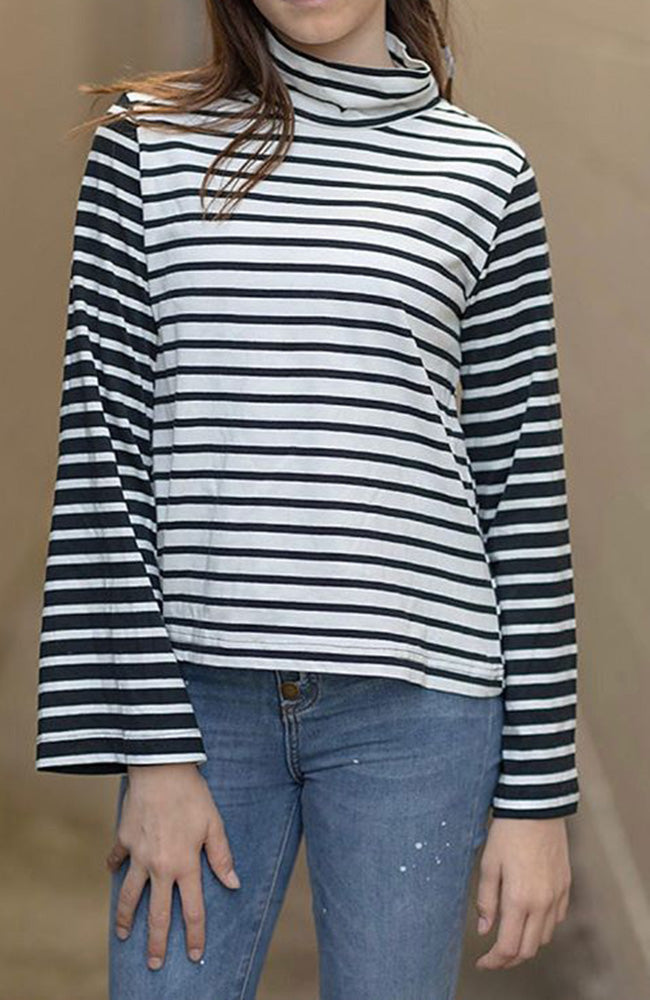 ilona black & white stripe boxy roll neck top