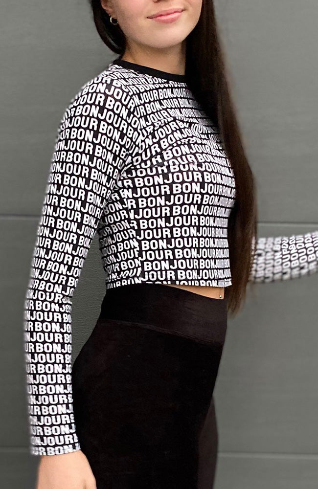 bonjour black & white lettering cropped active top