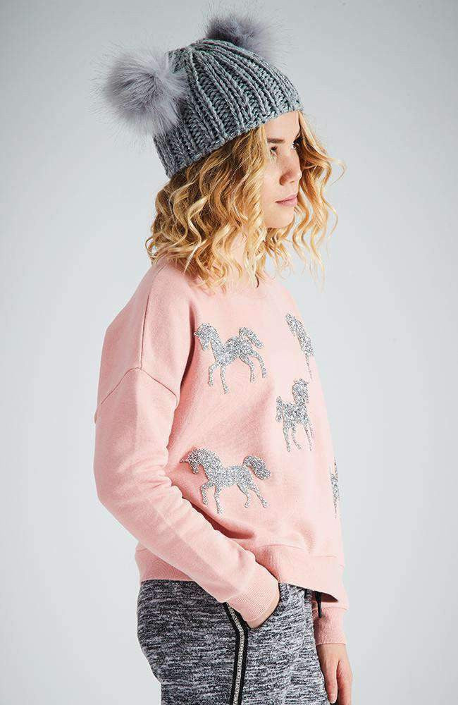 beatrice pink glitter unicorn active sweat top