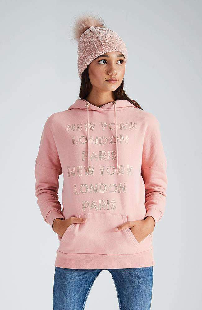 charli pink diamante long hooded sweat top