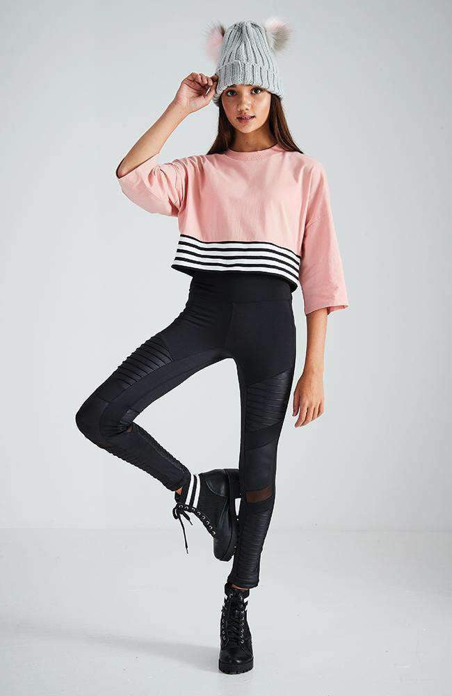 ivana black & white stripe band cropped active top