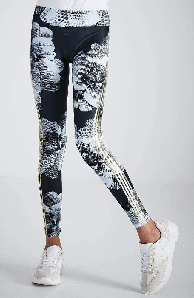 milly black and white floral gold stripe legging