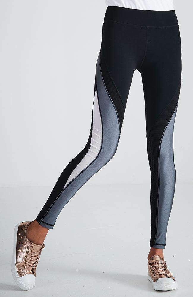desiree black white & grey stripe ribbed active legging