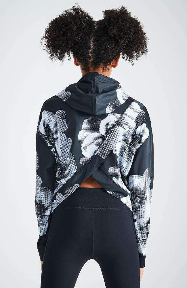 cecilia floral hooded active sweat top