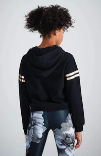 aubree black & rose gold hooded sweat top