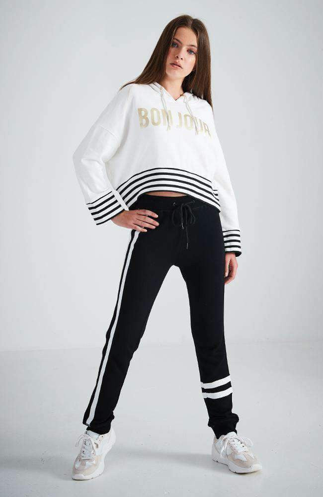lucille gold lettering striped band hooded sweat top