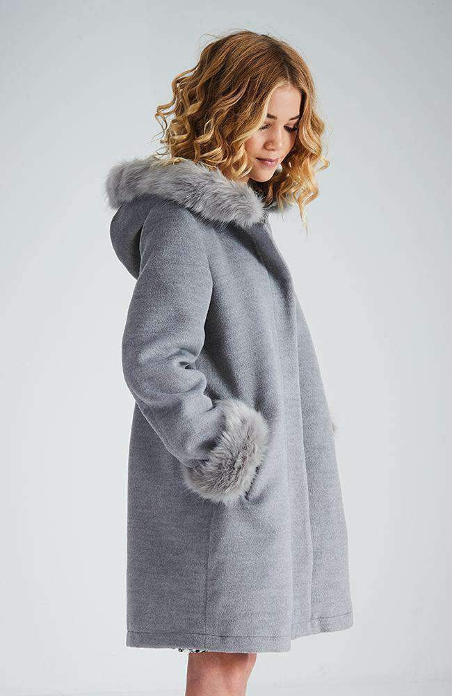 peggy sue grey hooded faux fur zip coat