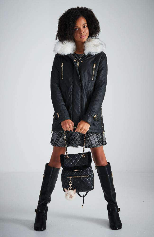 devon black & gold zip faux fur parka jacket