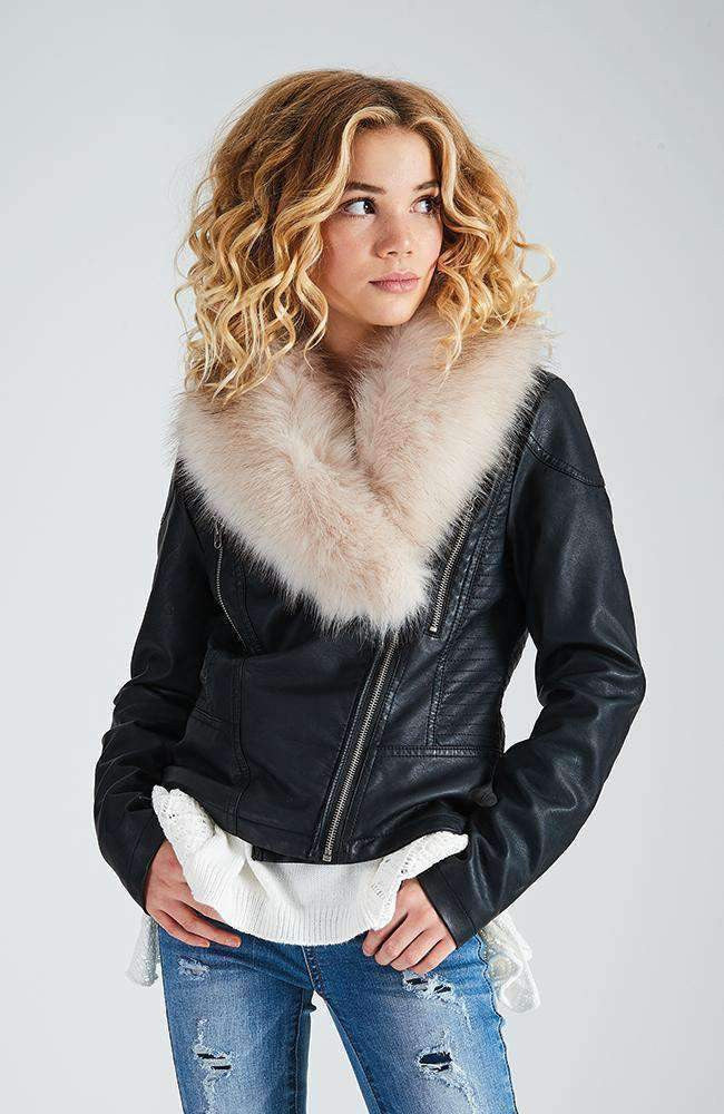 gilly faux fur collar black jacket