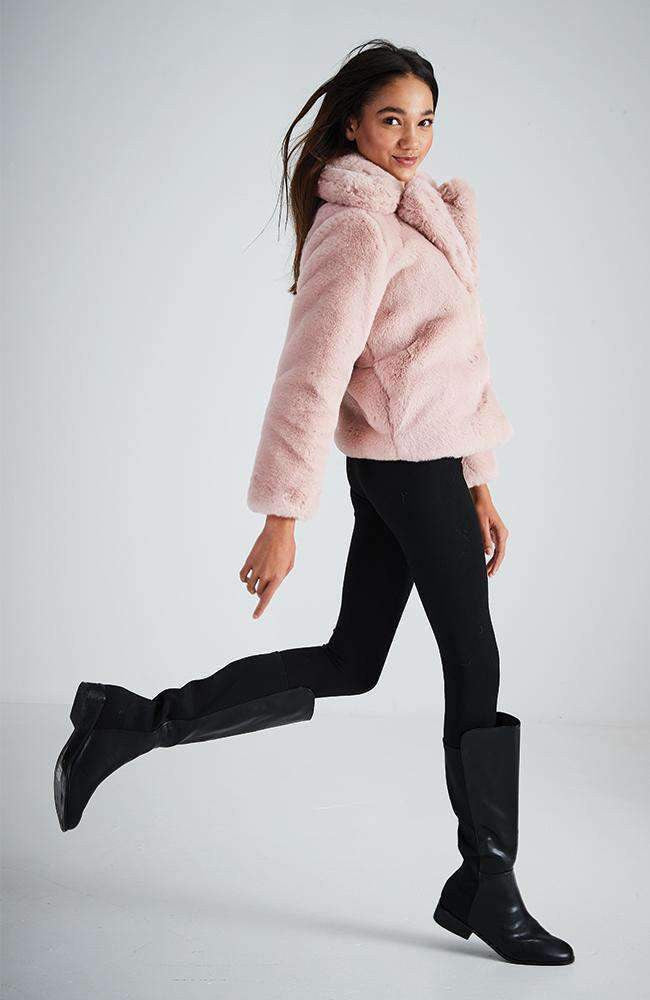 ashleigh pale pink soft faux fur jacket