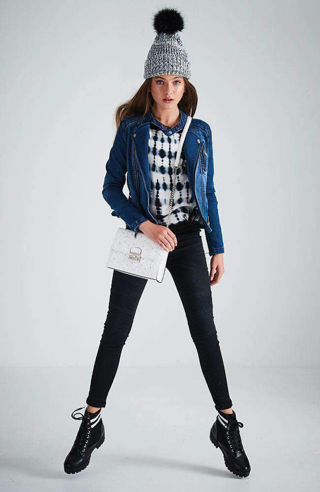 giovanna mid blue moto zip denim jacket