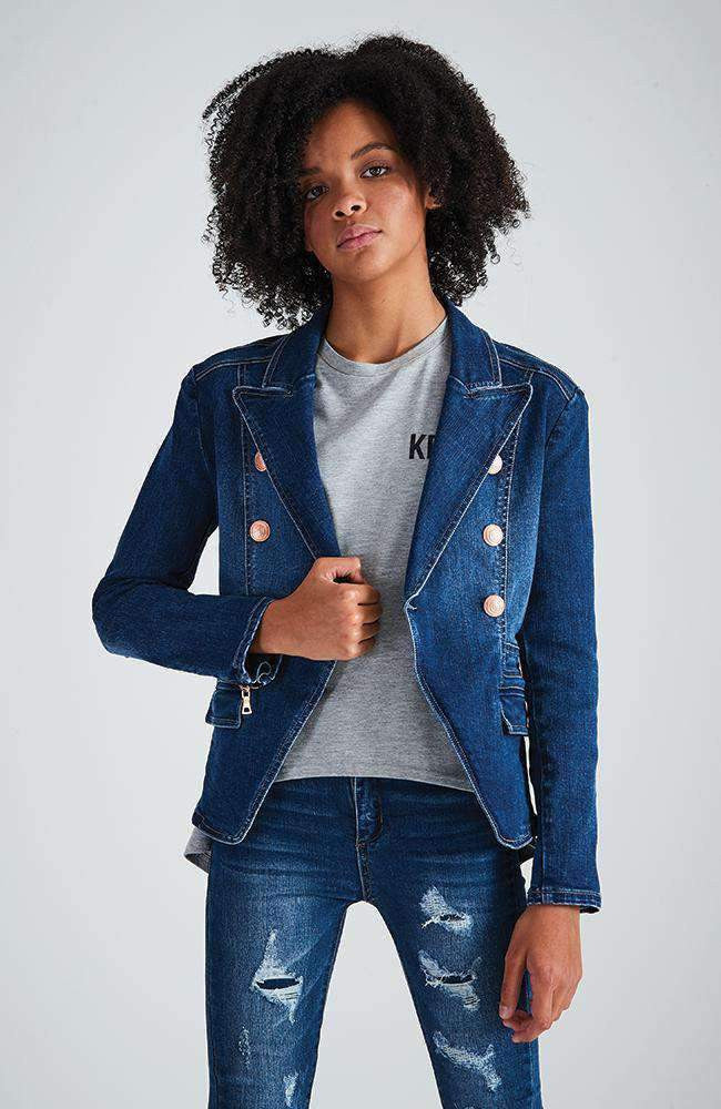 lola gold button fitted stretch denim blazer