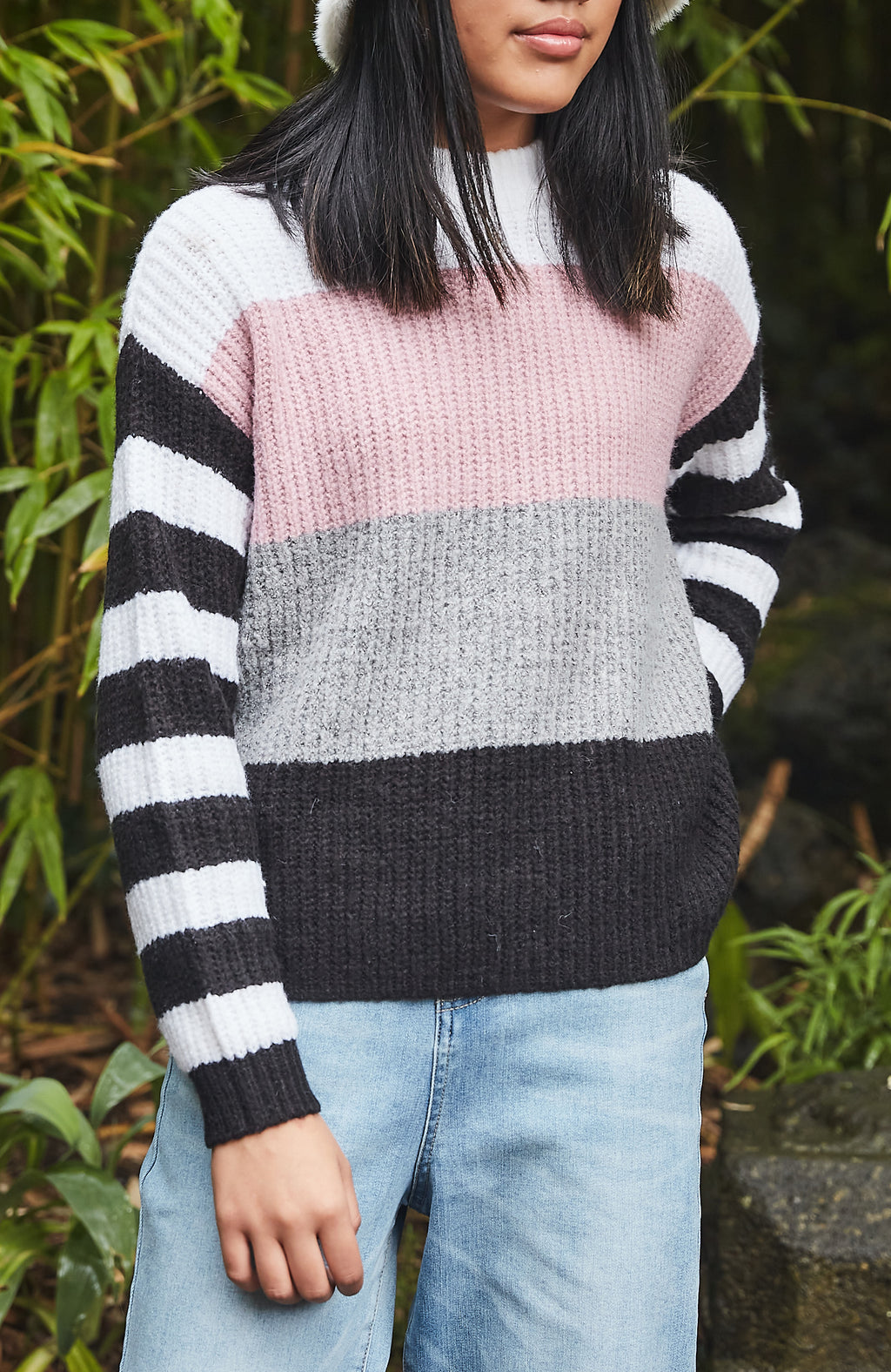 judith pink black & white stripe ribbed knit