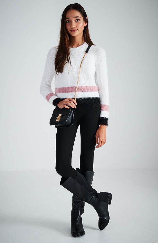 marni fluffy white pink and black stripe knit