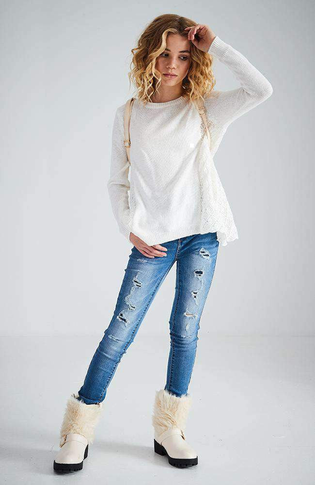 brylie white crochet knit top