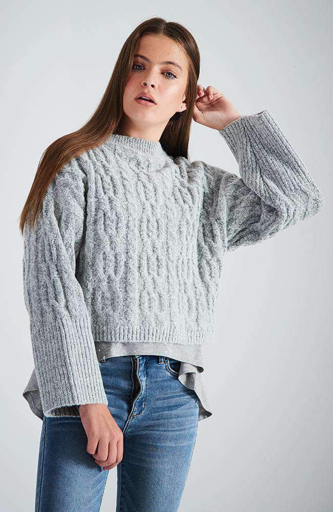 leona grey cropped cable knit